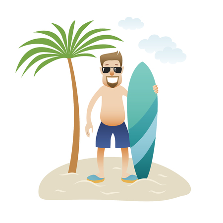 Summer banner man on the beach is standing under palm tree isolated. Caucasian happy man in glasses and shorts with surfboard. Vector illustration