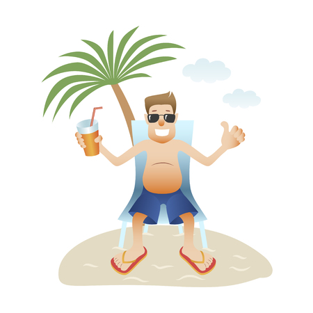 Conceptual man banner on beach isolated flat design.