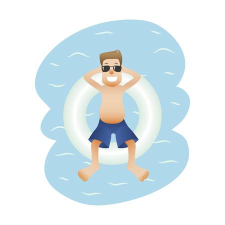 Summer banner man on sea isolated 일러스트