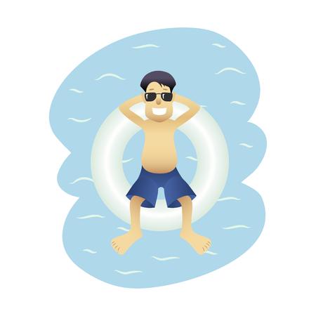 Summer banner man on sea isolated Illustration
