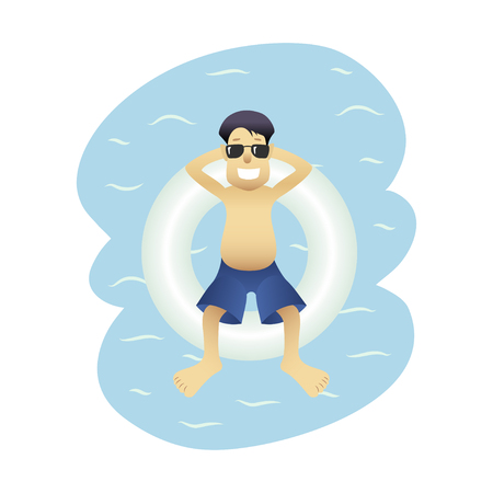 Summer banner man on sea isolated Ilustrace