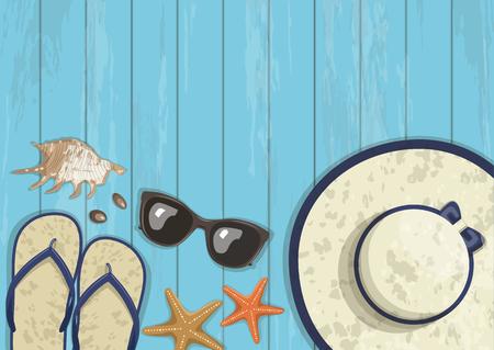 Conceptual summer vertical banner on blue wooden 일러스트