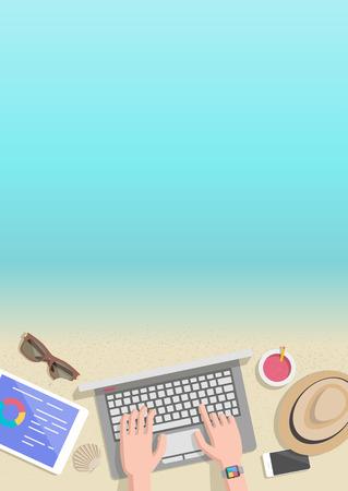 Conceptual vertical summer banner businessman working on beach
