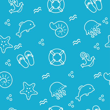 Seamless vector sea pattern hand drawing 스톡 콘텐츠
