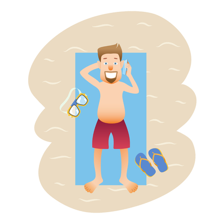 Conceptual flat banner person on weekends isolated. Caucasian happy man on the beach with swimming mask and slippers talking on phone. Vector illustration