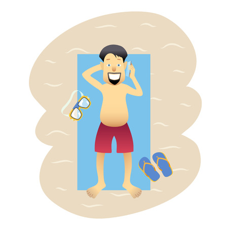 Conceptual flat banner person on weekends isolated. Asian happy man on the beach with swimming mask and slippers talking on phone. Vector illustration