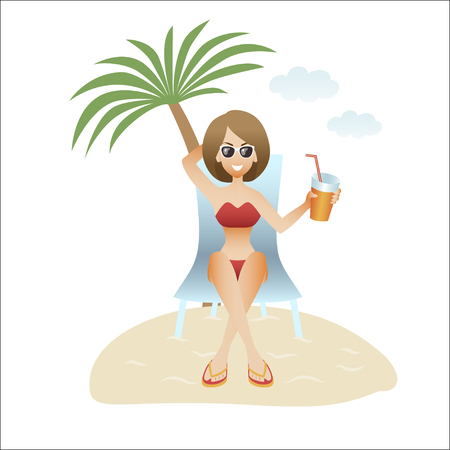A beautiful woman on vacation on the beach in summer banner