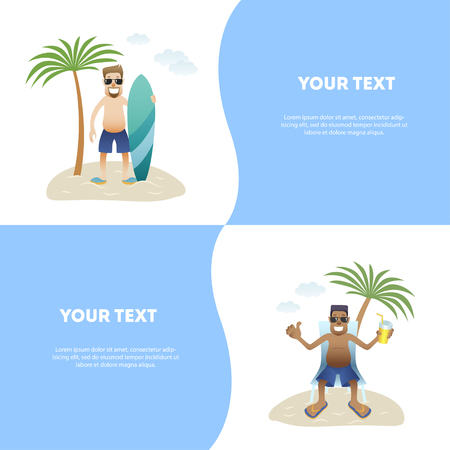 Set concept summer banner people on beach, flat. Caucasian happy man in glasses and shorts is standing with surfboard under palm tree isolated, black man is sitting in lounge with drink, vecto 일러스트