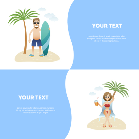 Set concept summer banner people on beach, flat design . Caucasian happy man in glasses and shorts is standing with surfboard under palm tree isolated, woman is sitting in lounge with drink, vector