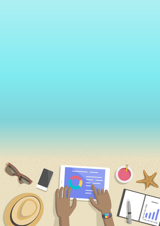 Conceptual vertical summer banner businessman working on beach, top view. Hands black man at computer with notebook and pen, devices sunglasses and juice. Vector flat Illustration 일러스트