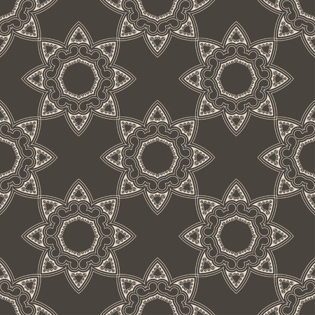 Ethnic vintage abstract seamless geometric pattern. Celtic ornament symmetrical stars of brown colors. Printing for fabric, wrapping paper, web site. Vector illustration 일러스트