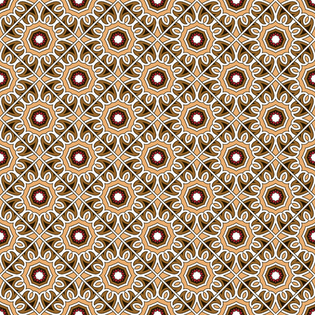 Ethnic vintage abstract seamless geometric pattern. Celtic ornament symmetrical rhombs of brown flowers. Printing for fabric, wrapping paper, web site. Vector illustration Standard-Bild - 113563261