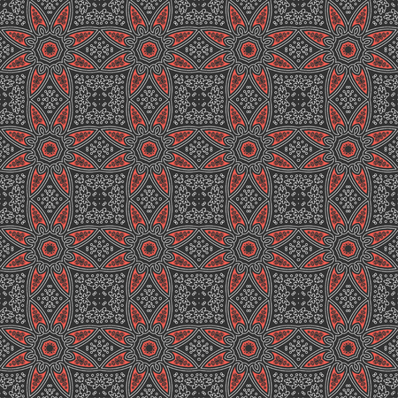 Ethnic vintage abstract seamless geometric pattern. Celtic ornament symmetrical red stars with white line of black background. Printing for fabric, wrapping paper, web site. Vector illustration 일러스트