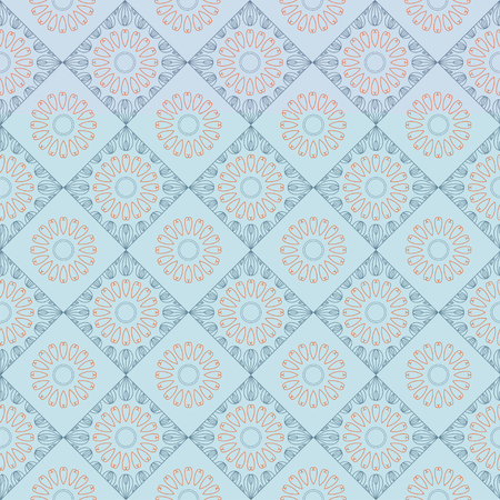 Ethnic vintage abstract seamless geometric pattern. Blue rhombuses and orange flowers on light background. Printing for fabric, wrapping paper, web site. Vector illustration