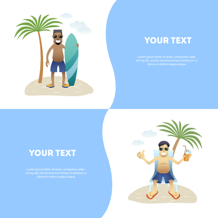 Set concept summer banner people on beach, flat. Black happy man in glasses and shorts is standing with surfboard under palm tree isolated, asian man is sitting in lounge with drink, vecto
