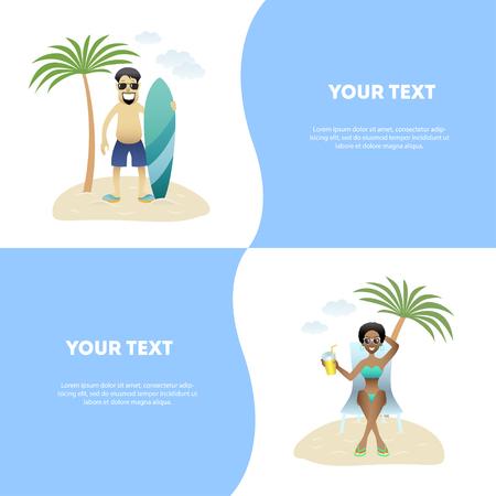 Set concept summer banner people on beach, flat design