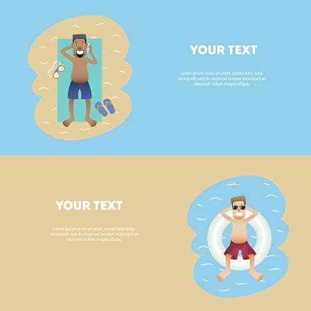 Set of conceptual summer banner people on weekends flat design