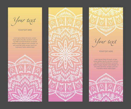 Set of vertical ethnic narrow banners