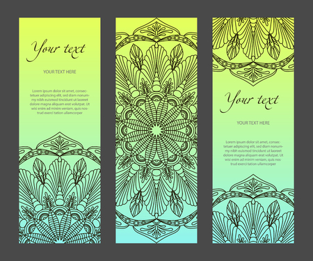 Set of vertical narrow banners with ethnic symmetric abstract circle pattern on pastel background. Modern gradient and white lines. For the title page, booklets, flyers, leaflets, etc. template.