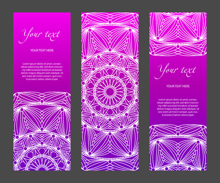 Set of vertical narrow banners with ethnic symmetric abstract circle pattern on bright background. Modern gradient and white lines. For the title page, booklets, flyers, leaflets, etc. template. 일러스트