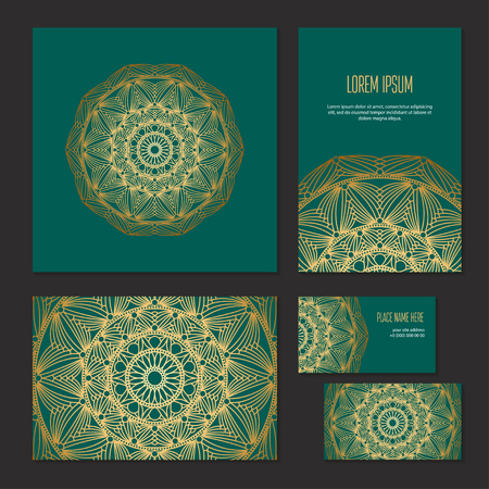 Set ethnic symmetric abstract circle pattern of corporate identity template for flower shop, workshop or salon. Gold on green background, vector banners. Cover brochure, booklet and business card
