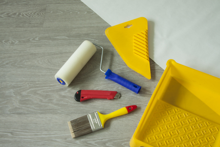 Composition tools for home repair and interior renovation indoors.