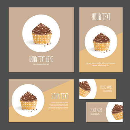 Set corporate style elements with dessert. Template cover brochure, booklet and business card for restaurant, cafe or pastry shop. Chocolate cake in yellow packing paper in polka dots on white circle