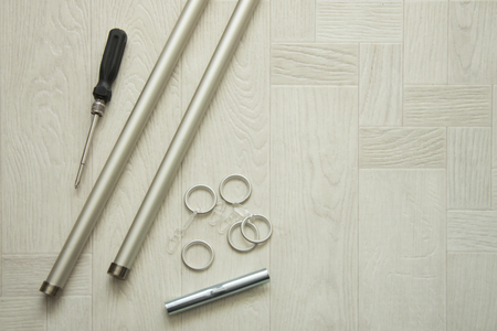 Repair and design of premises. Details of curtain rod. 스톡 콘텐츠