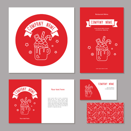 Set corporate branding. Christmas sweet drink. Hot chocolate with marshmallow, candies and chocolate in cup. Template cover brochure, booklet and business card. White line on red., vector