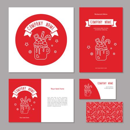 Set corporate branding. Christmas sweet drink. White line