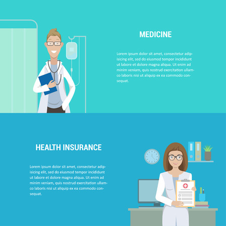 Set of horizontal medical banners flat design. A man and a woman are doctors at the clinic. Health and medical insurance. Vector illustration