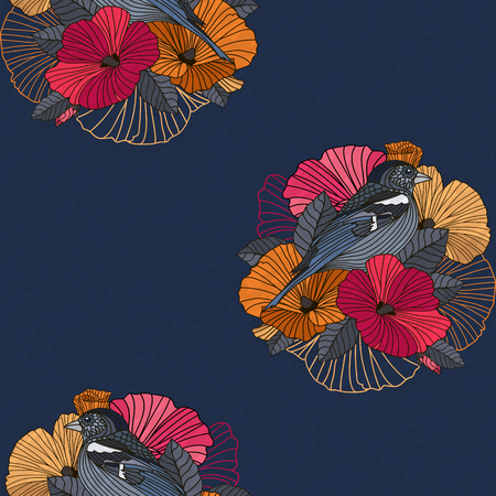 Vector abstract floral seamless pattern. Gray Bird on red, orange and pink flowers with outline hand drawn on dark grunge background. Design concept for fabric design, textile print, wrapping or web