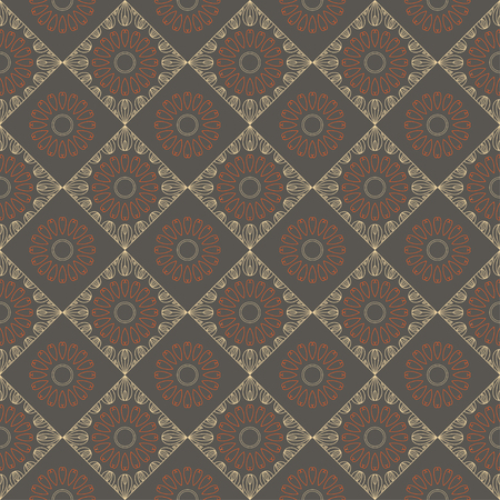 Ethnic vintage abstract seamless geometric pattern. Beige rhombuses and orange flowers on brown background. Printing for fabric, wrapping paper, web site. Vector illustration