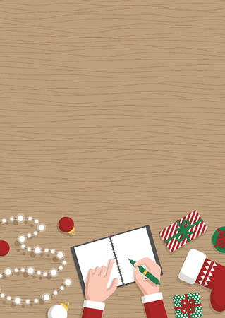 Conceptual vertical Christmas flat banner. Santa Claus workshop, top view. Santa s hands make up a list of gifts in notebook, gifts, Christmas toys and garland on table, vector