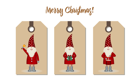 Trademark related tags and pricing set isolated. Festive Christmas design. Santa Claus cartoon with bell, drum and gift on craft paper, vector illustration