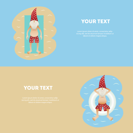 Set of conceptual summer horizontal banner ute christmas tanned character Иллюстрация