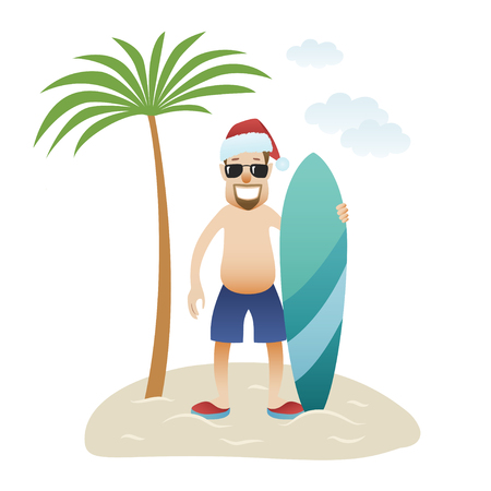 Festive Christmas banner man on beach stands under palm tree isolated. Caucasian happy man in glasses, christmas hat and shorts with surfboard. New Year holidays. Vector illustration
