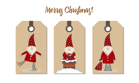 Set price tags isolated. Festive Christmas cartoon design. Santa with gift, skating and chimney pipe on craft paper, vector illustration