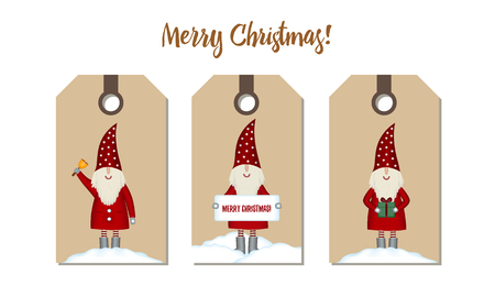 Set price tags isolated. Festive Christmas cartoon design. Santa with gift, bell and chimney banner in snowdrift on craft paper, vector illustration
