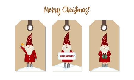 Set price tags isolated. Festive Christmas cartoon design. 스톡 콘텐츠