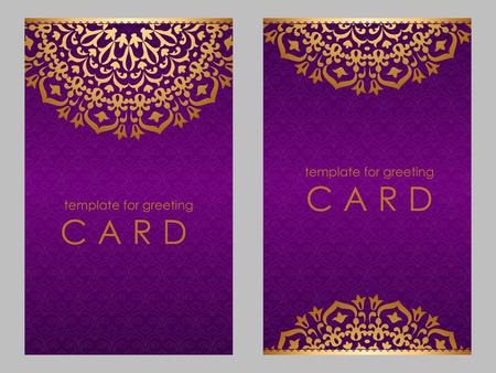 Greeting card golden ethnic patterns on violet background.
