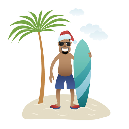 Festive Christmas banner man on beach stands under palm tree isolated. Black happy man in glasses, christmas hat and shorts with surfboard. New Year holidays. Vector illustration 일러스트
