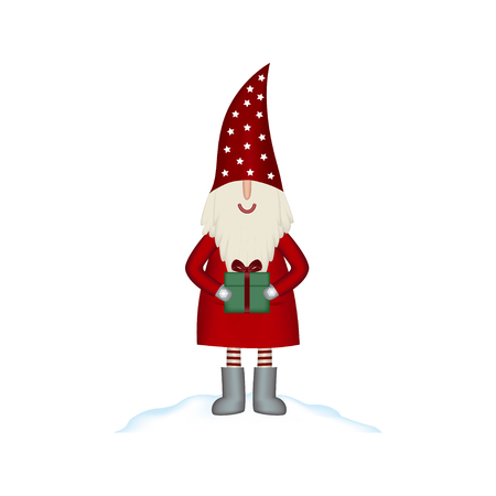 Nisse Santa Claus scandinavian folk style, nordic Christmas motive in red coat with gift, isolated on white background, vector illustration