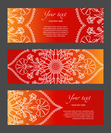 Set horizontal template narrow banners with ethnic symmetric abstract circle pattern on bright background. Modern gradient and white lines. Cover for title page, booklets, flyers, leaflets, etc. Illustration