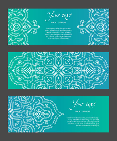 Set horizontal template narrow banners with ethnic symmetric abstract circle pattern on bright background. Modern gradient and white lines. Cover for title page, booklets, flyers, leaflets, etc. 일러스트