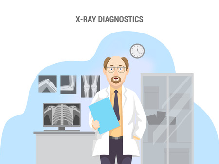 Orthopedic office. Conceptual banner flat design isolated. Caucasian male doctor in lab coat with equipment. X-rays, computer and cabinet. Vector illustration.