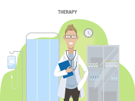 Office of the therapist. Conceptual banner flat design isolated. Caucasian male doctor in lab coat with equipment. Medical screen, dropper and medicine cabinet. Vector illustration. Ilustracja