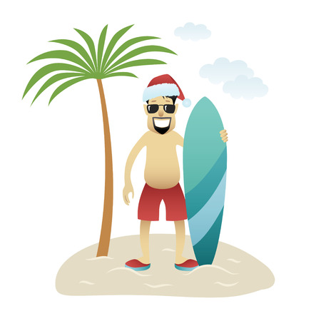 Festive Christmas banner man on beach stands under palm tree isolated. Asian happy man in glasses, christmas hat and shorts with surfboard. New Year holidays. Vector illustration 일러스트