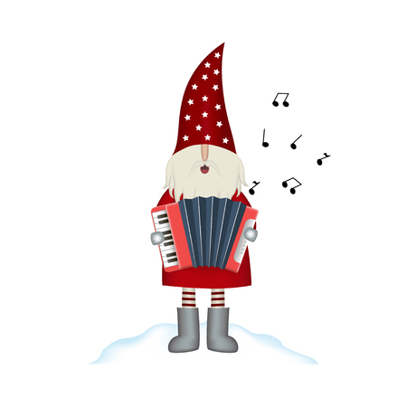 Nisse Santa Claus scandinavian folk style, Christmas motive in red coat, musician with accordion and note isolated on white background, vector illustration