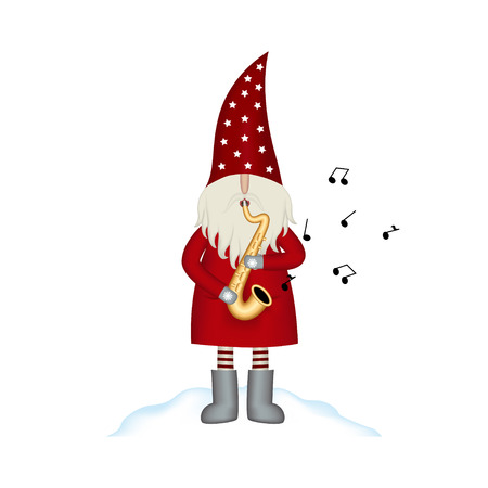 Nisse Santa Claus scandinavian folk style, Christmas motive in red coat, musician with saxophone and note isolated on white background, vector illustration